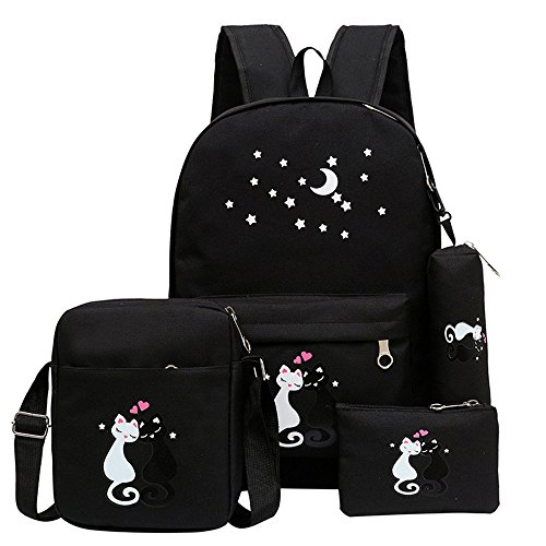 Fanci 4Pcs Cute Cat Prints Canvas School Rucksack Backpack Set for Girls Elementary Bookbag