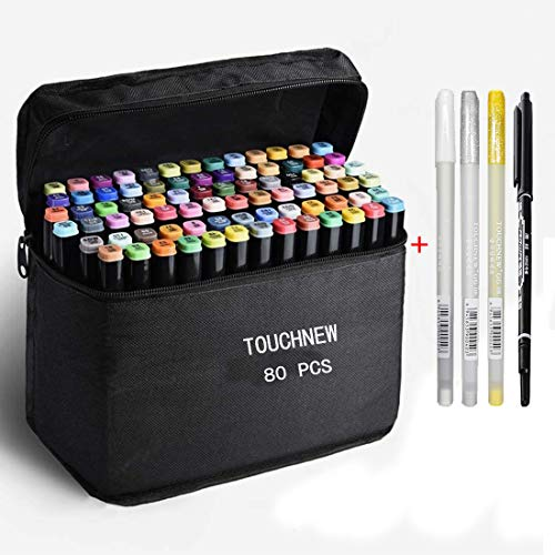 TOUCHNEW 80 Colores Marcadores Permanentes de Graffiti,Arte Dibujo Marcadores de Punta Doble Manga Graffiti Marcadores de Doble Punta para Suministros de Pintura y Dibujo para Niños y Adultos