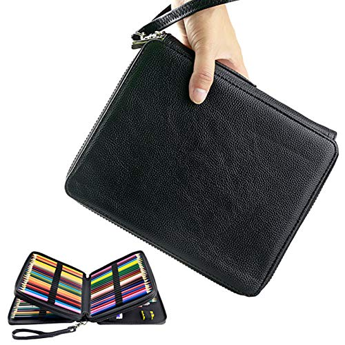 YOUSHARES 120 Slots Colored Pencil Case – Deluxe PU Leather Pencil Holder with Compartments for Watercolor Pencils (Black)