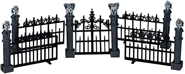 Lemax Miniature Spooky Town Halloween Gargoyle Fence Set Of 5