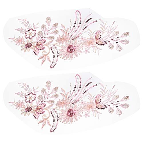 SOIMISS 2 Stück Blumen Gestickt Patch Nähapplikation Aufkleber für DIY Handwerk Braut Hochzeitskleid Rock Kleidung Jeans Dekoration Rosa