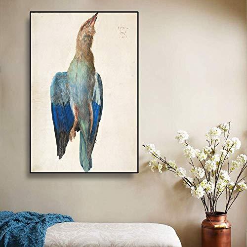 Dode blauwe vogel geschilderd op canvas door kunstenaar klassieke kunst compositie foto huisdecoratie frameloze schilderij 20x30cm