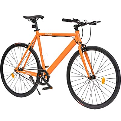 Outroad Urban City Road Bike Single-Speed Commuter Bicycle Similar Fixie Track Bike with 700 x 25C Tire Orange