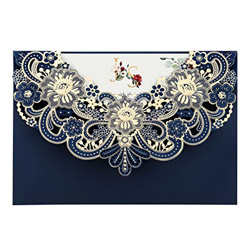 Doris Home 50pcs Navy Blue Laser Cut Flora Lace invitation Cards with Envelopes for Wedding Invitations, Bridal Shower, Engagement, Birthday, Bachelorette Party, Baby Shower