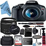 Canon EOS Rebel T7 DSLR Camera with 18-55mm Lens + SanDisk 32GB Card, Tripod, Case, and More (20pc Bundle) (18-55MM +32GB Accessory Kit)