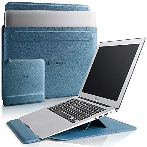 KingBlanc Laptoptasche für 13-13.3 Zoll mit Stand-Funktion, 3-in1 PU Leder Notebook Schutzhülle & Zubehörtasche, Sleeve Case mit Handgelenkauflage für Apple MacBook Air/MacBook Pro 13-13,3 Zoll (Blau)