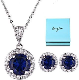 AMYJANE Halo Crystal Jewelry Set - Sterling Silver Round...