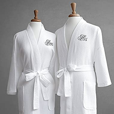 Luxor Linens Egyptian Cotton His & Hers Waffle Robes - Perfect Engagement Gifts! - His & Hers with Gift Packaging