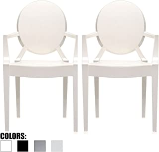2xhome Set of 2 White Modern Glam Ghost Chairs Chair with Arms Molded Acrylic Plastic Mirrored Furniture Dining Retro for Writing Desk Dining Living Bedroom Outdoor Office Table Vanity Accent