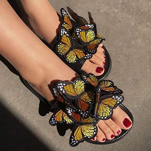 LJJYF Natural Confort, Unisex, Interior, Exterior,Sandalias Bordadas con Lazo para Mujer Zapatos...