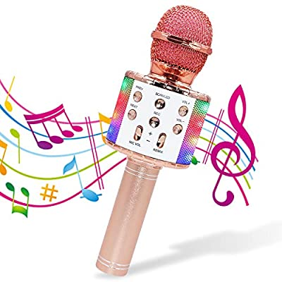 Lachesis Wireless Karaoke Microphone with LED Light, 4 in 1 Bluetooth Handheld Portable Speaker Home KTV Player for Android & iOS Devices, Birthday Gift for Kids Party Singing (Rose Gold)