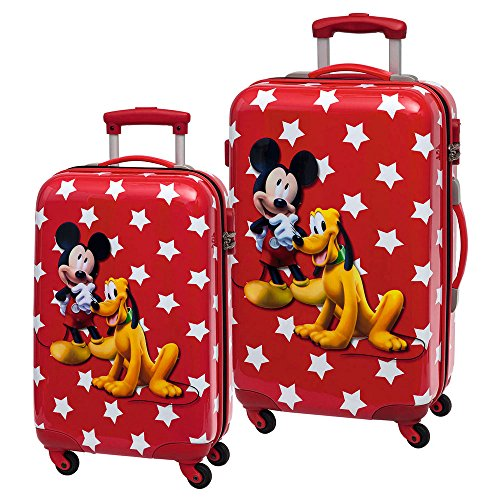 Disney Mickey Y Pluto Set de Bagages, 67 cm, 86 L, Rouge