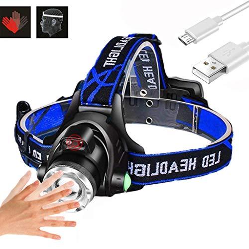 Linternas Frontales, Sensor De Movimiento del Cabezal De La Antorcha De Carga USB A Prueba De Agua 3 Modos De Iluminación Telescópica Zoom Faro De Ejecución De Excursión Que Acampa