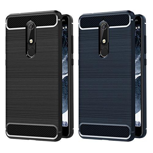 iVoler [2 Pack] Cover Compatibile con Nokia 5.1 / Nokia 5 2018, [Fibra di Carbonio] Protezione Posteriore Soft TPU Custodia Case (Nero+Blu)