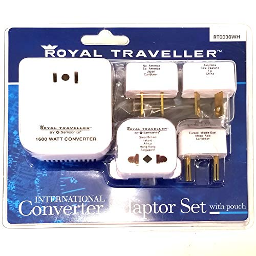 Black//red International Carry-on Samsonite Adapter Plug Kit with Pouch Model: 53611-1073