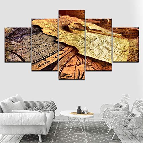 YKJMHL 150×80cm Lienzo de Pintura Mapa Retro y Lupa 5 Piezas HD Wallpapers Art Canvas Print Modern Poster Modular Art Painting Living Room Home Decor