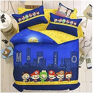 4pcs Kids Children Beddingset Duvet Cover Set Duvet Cover No Comforter Flat Sheet Pillowcases BLY Twin Full Queen Love Country Flag Star Design (Queen, Super Mario, Blue)
