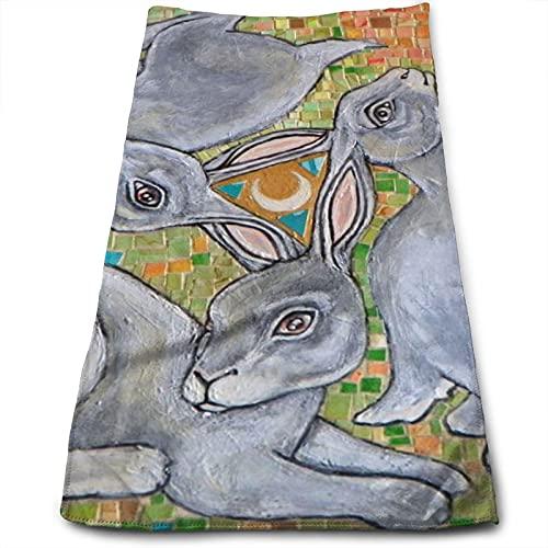 ewretery Toallas de baño Tres liebres Chase The Moon Toallas de cara altamente absorbentes, toallas multiusos para mano cara gimnasio y spa 30 x 70 cm