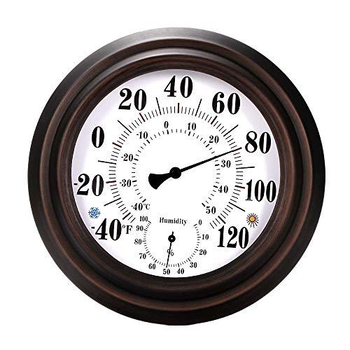 OurLeeme Igrometro a termometro da Parete, igrometro Decorativo per la casa in Metallo Stile retrò 20CM per Interni da Esterno
