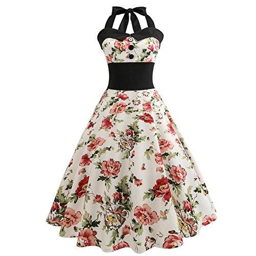Berimaterry Damen Neckholder 1950er Vintage Rockabilly Kleider Abendkleid mit Polka Dots Punkte Retro Cocktailkleid Petticoat Festliche Kleider A-Linie Partykleid
