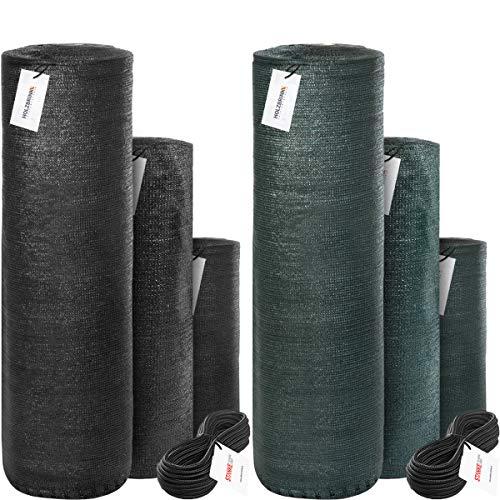 HOLZBRINK Malla de sombreo con Cuerda de Montaje, sombreado 40%, Panel de vallado 38g/m², Verde Oscuro, Altura 150cm, Longitud 20ml, HZB-01A-150-20