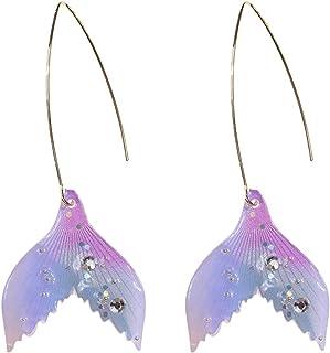 Holibanna Pendientes de Cola de Pez Pendientes de Sirena Pendientes de Confeti Pendientes de Cristal Delicada Gota de Oreja para Mujer Dama Mujer Niña (Azul