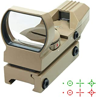 DB TAC Red and Green Reflex Sight with 4 Reticles - Picatinny/Weaver Rails,Tan Color