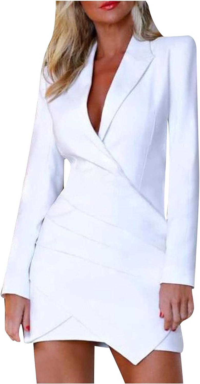 Dress for Women,Women's Casual Elegant Dress Button Up Work Office Party Pencil Midi Suit Dresses