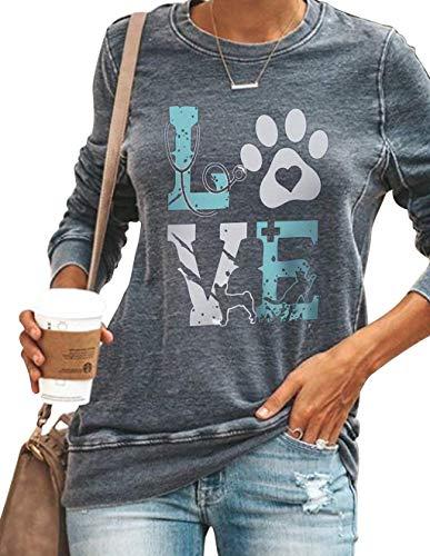 Damen Langarmshirt, Tier Katze Hund Fußabdruck Love Pullover Frauen Elegant Pulli Sweathshirt Teenager Mädchen Langarm Shirts Oberteil Bedrucktes Lässig Bluse Tops (Grau,M)