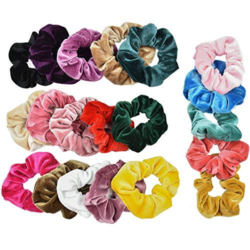 SANTOO 20 Piezas Scrunchies Velvet Elastic para Mujeres Niñas, Pelo Bandas Gomas de Pelo Hermosa Moda