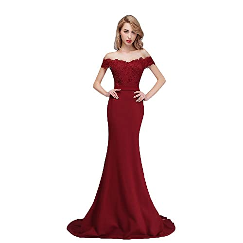 6e33e90d77 Honey Qiao Burgundy Off The Shoulder Mermaid Bridesmaid Dresses Long Prom  Party Gowns