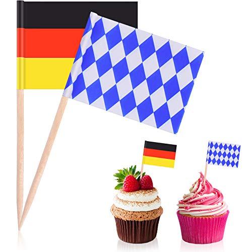 Blulu 100 Stücke Bierfest Picks Party Zubehör, Einweg Bayerische Flagge Cupcake Topper Dekoration Bierfest Thema Party Cupcake Zahnstocher Bayerusche Flagge Picks Kuchen Topper Dekorationen