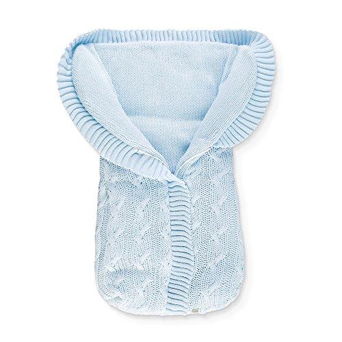 Minutus Saco Capazo punto con Trenzas 100% Dralón (lana bebé), color Azul