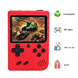 Retro FC Game Console, Mini Handheld Games Consoles with 500 Classic Games 3.0 inch Screen, Portable Retro Video Game Console Support for Connecting TV, Good Gifts for Kids and Adult (Red)
