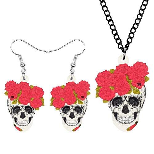 Acrílico Halloween Flower Joyas Conjunto Largo Collar Estética Pendientes For Mujer Muchacha Adolescente Moda Regalo Decoración Hyococ (Color : Multicolor)