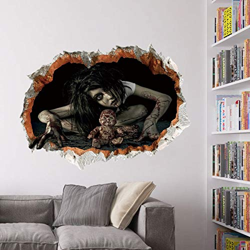 Halloween Horror Wall Stickers 3d View Scary Bloody Broken Ghost Sticker Home Halloween Party DIY Decoration