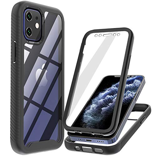 Profer Compatible with iPhone 12 Mini case[5.4 inch] with Screen Protector Clear Armor Full Body Military Grade Protective Heavy Duty Rugged Shockproof Drop Proof Cover