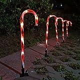 Oukerde 5 Piezas Luz Solar de Navidad,LED de caña de azúcar,Navidad del bastón de Caramelo Pathway Luces solares de Navidad la luz del jardín Estaca Luces Festivas Lámpara de Pico LED,47cm