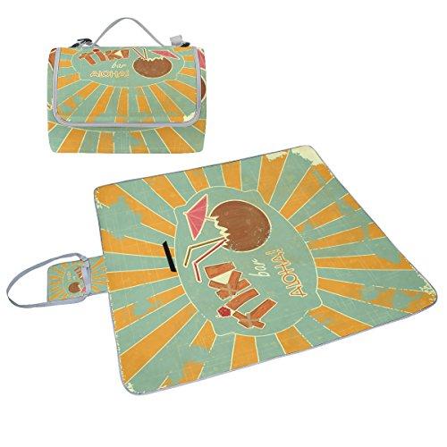 COOSUN Retro-Design Tiki Bar Box Picknick-Decke mit Matte Schimmel resistent und wasserdicht Camping-Matte für rving, Picknickdecke, Strand, Wandern, Reisen und Ausflüge
