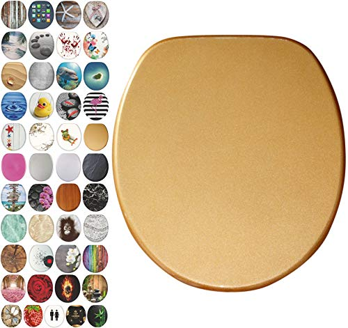 Sanilo Round Toilet Seat, Wide Choice of Slow Close Toilet Seats, Molded Wood, Strong Hinges (Glittering Gold)