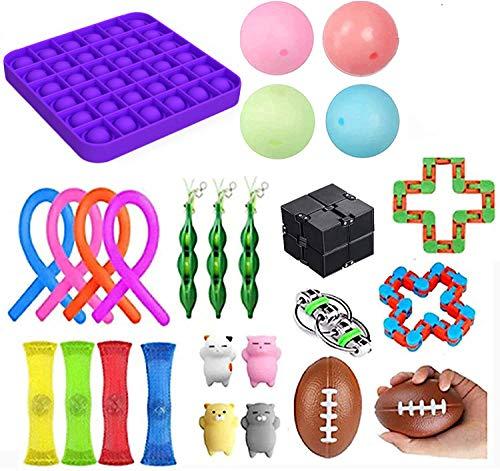 Sensorisches Fidget-Spielzeug-Set, Quetschbälle, Stressabbau, Angstabbau, Spielzeug für Kinder und Erwachsene, sensorischer Ball, Blasen drücken, Netzball
