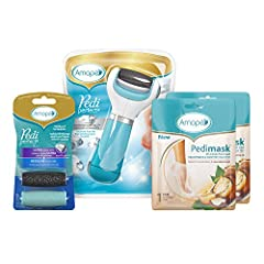 [SPA VALUE KIT]: Amopé Pedi Perfect Spa Experience Pampering Pack includes 1 Amope Pedi Perfect Electronic Foot File (Blue), 2 Pairs of Macadamia Oil PediMasks and 2 replaceable roller heads [FOOT SCRUBBER & EXFOLIATOR]: The Amope Pedi Perfect Electr...