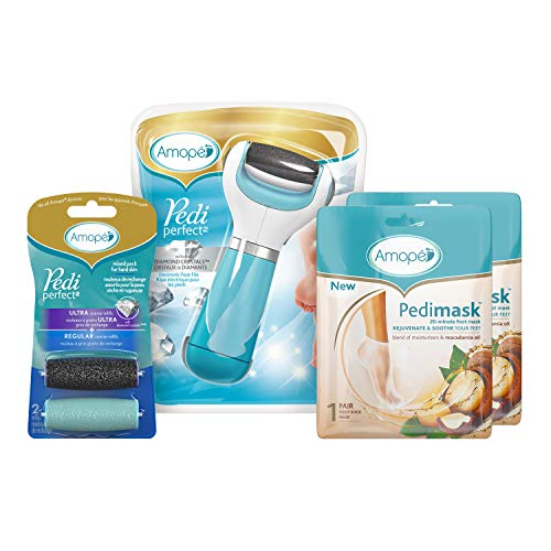 Amopé Pedi Perfect Spa Experience Pampering Pack, Wet & Dry Electronic Foot File, Waterproof, Rechargeable, Cordless, Dual Speed Includes 5 Rollers & 2 Pedimask