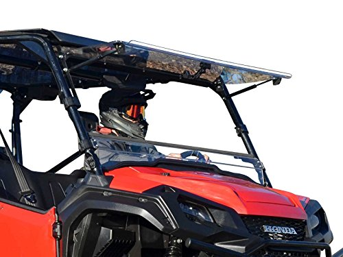 SuperATV Scratch Resistant Clear Flip Windshield for 2016+ Honda Pioneer 1000/1000-5 | Hard Coated on both sides for Extreme Durability | Can be Set to 3 Different Settings!