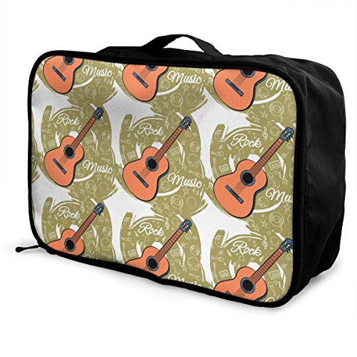 Qurbet Reisetaschen,Reisetasche, Travel Luggage Trolley Bag Portable Lightweight Suitcases Duffle Tote Bag Handbag, Retro Guitar Pattern