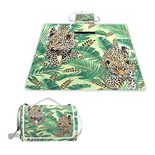 LZXO Jumbo-Picknickdecke, faltbar, mit Leopardenmuster, groß, 145 x 150 cm, wasserdicht, handliche Matte, für Outdoor-Reisen, Camping, Wandern.
