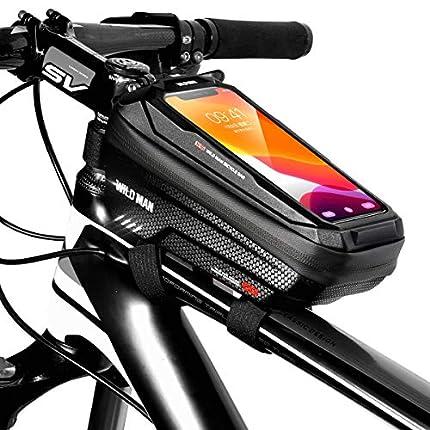 """TEUEN Bolsa Bicicleta Impermeable Bolsa Movil Bici con Ventana para Pantalla Táctil, Bolsa para Cuadro Bicicleta Montaña para Smartphones de hasta 6,5"""" (Negro)"""