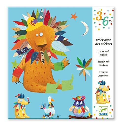 Djeco Kreativ Set Sticker Create animals mit 4 Vorlagen tierischen Aufklebern