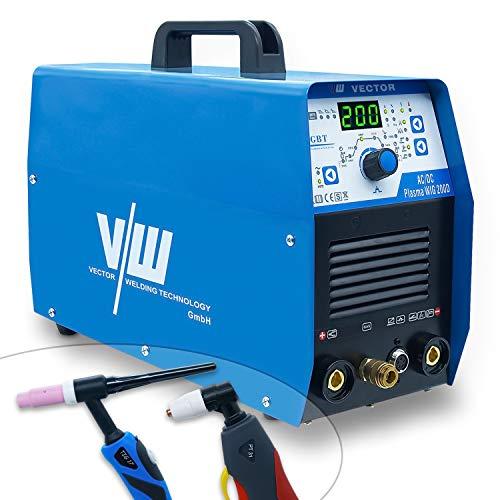 Vector Welding AC DC WIG 200 Amp - Soldador de electrodos con cortador de plasma de 180 Amp 50 Amp | Encendido HF - 2 y 4 tiempos - Parámetros de soldadura ajustables - ACDC WIG Plasma 200