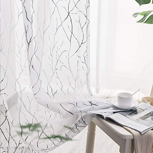 White Sheer Curtains 63 Inch Length - Silver Tree Branch Sheer Curtains for Bedroom Rod Pocket Sheer Window Curtains for Bedroom Girls, 52 x 63 Inch, 2 Panels, Silver White, by TERLYTEX